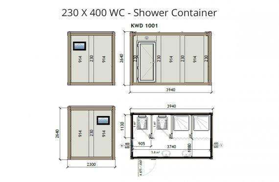 KW4 230X400 WC - Konteiner Dushi