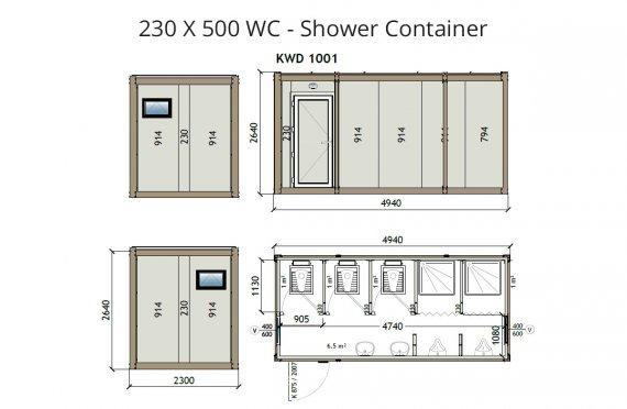 KW6 230X500 WC - Konteiner Dushi