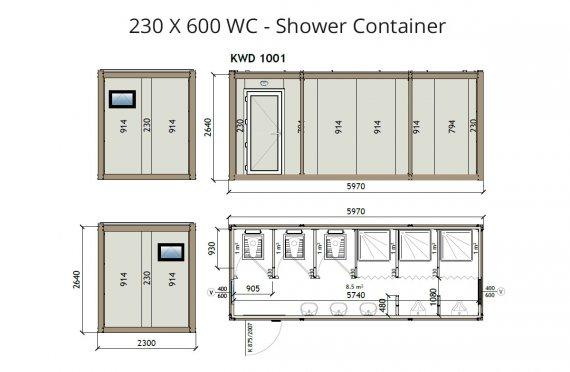 KW6 230X600 WC - Konteiner Dushi