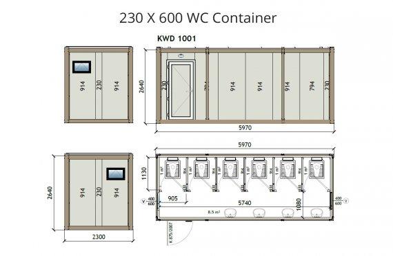 Konteiner Wc KW6 230x600
