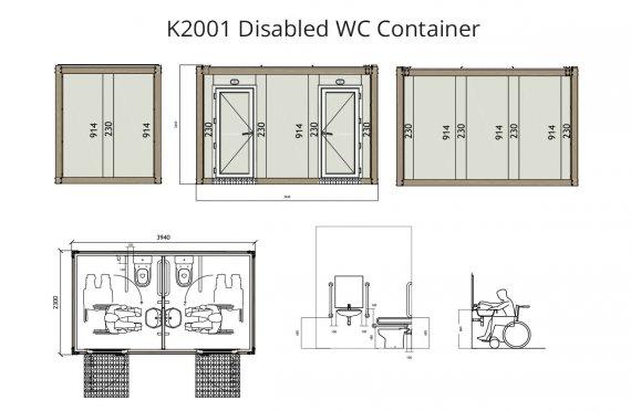 Kontenier WC per Invalide K 2001