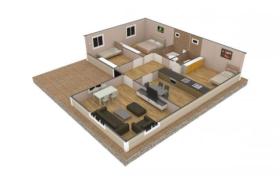 Shtepi e prefabrikuar 107 m²