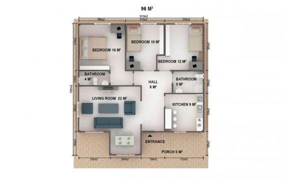 Shtepi e prefabrikuar 96 m²